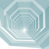 Empty octagonal tunnel interior perspective, 3d. Abstract blue toned square cg background with empty octagonal tunnel interior perspective, 3d illustration Royalty Free Stock Photos