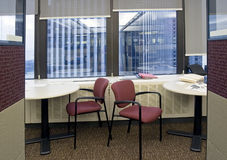 Empty Office 5. Empty office space, -  two chairs and desk in front of windows Royalty Free Stock Photos