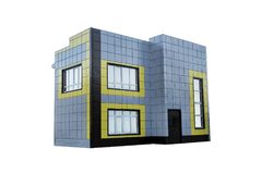 Empty office building on a business park isolated on a white background. shop, commercial building. stock images