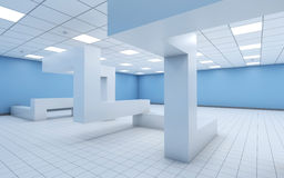 Empty office with chaotic geometric construction 3d Royalty Free Stock Image