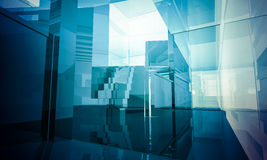 Empty office with columns and large windows, Indoor building. bu Royalty Free Stock Photography