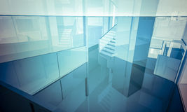 Empty office with columns and large windows, Indoor building. bu Royalty Free Stock Image