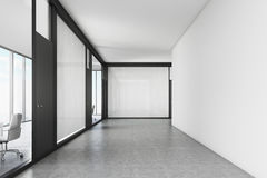 Empty office corridor with a meeting room Stock Photos