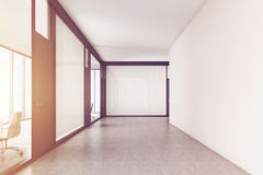 Empty office corridor with a meeting room, toned Stock Image