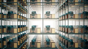 Empty office cubicles stock footage