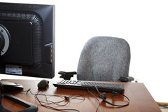 Empty office desk chair monitor Stock Image