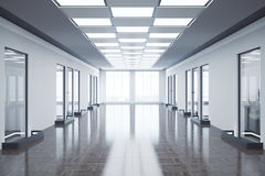 Empty office hall. Front view of empty office hall with city view and daylight. Toned image. 3D Rendering Royalty Free Stock Photography