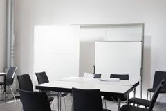 Empty office meeting room with chair, table white board. Empty office meeting room with chair, table and white board Royalty Free Stock Photography