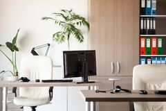 Empty office in the morning when nobody is at work. Corporate lifestyle Stock Image