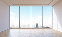 Empty office. With panoramic window. City view. Concept of new office. 3D render Stock Image