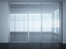 Empty office room with glass walls and doors Royalty Free Stock Images