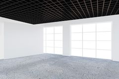 Empty office room with light ray on floor. 3D Rendering.  Stock Photos