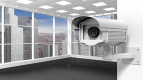 Empty office room with surveillance camera Royalty Free Stock Images