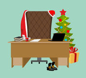 Empty Office Santa. Claus workstation. After work. Table and fir Stock Photos