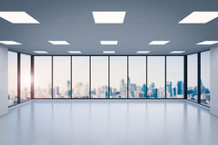 Empty office space. 3d rendering empty office space with glass windows stock photography