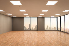 Empty office space. 3d rendering empty office space with wooden floor Royalty Free Stock Photography