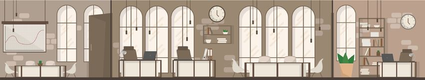 Empty Office Space Interior Modern Workplace Space Flat Vector Illustration Stock Photos