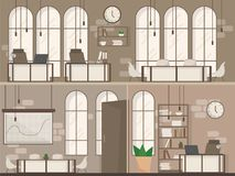 Empty Office Space Interior Modern Workplace Space Flat Vector Illustration. Empty Coworking Space Interior Modern Coworking Office Creative Workplace Space two royalty free illustration