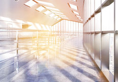 Empty office with sunlight. Empty loft office interior with concrete floor, railings and panoramic windows with city view and sunlight. 3D Rendering Royalty Free Stock Photos