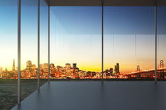 Empty office at sunset with beautiful view to the skyline Royalty Free Stock Photography