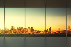 Empty office at sunset with view to the skyline Royalty Free Stock Image