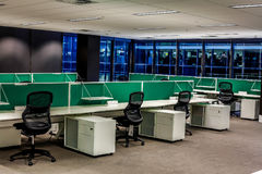 Empty Office. Empty work stations in a modern open space office Stock Photos
