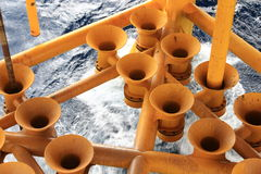 Empty Oil and Gas Producing Slots. At Offshore Platform - Oil and Gas Industry Stock Photo