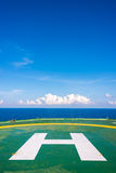 Empty oil rig helipad with few cloud and blue sky Royalty Free Stock Photography