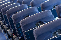 Empty old airplane seats in the cabin, selective focus Stock Image