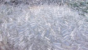 Glass bottles and splitters garbage trash for recycle at the dump. Empty old bottles for renewal recycling earth ecology sorting stock video