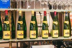 Empty old bottles of Trimbach royalty free stock images