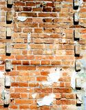 Empty Old Brick Wall Texture. Painted Distressed Wall Surface. Grungy Wide Brickwall. royalty free stock photos