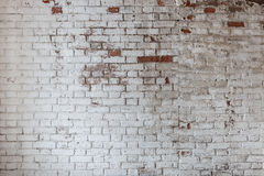 Empty Old Brick Wall Texture. Painted Distressed Wall Surface. Grungy Wide Brickwall. Royalty Free Stock Images