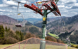 Old cableway in Lucivna, Slovakia. Empty old cableway in ski resort Lucivna, Slovakia royalty free stock photography