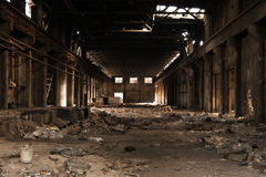 An Empty Old Factory. Has a glorious past, already moved to another place. Left the landscape for us Royalty Free Stock Images