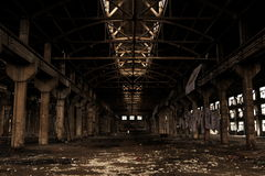 An Empty Old Factory. Has a glorious past, already moved to another place. Left the landscape for us Royalty Free Stock Photos