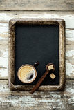 Empty old frame with coffee Stock Images