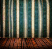Empty old grunge room with vintage Damask wall texture Stock Images