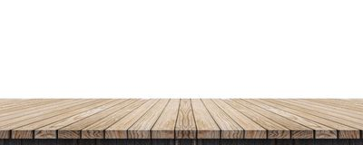Empty old grunge wood plank table top isolated on white background,Use for display for montage of product and leave space for rep. Lace of your background royalty free stock photo