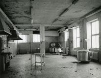Empty old Kitchen. Huge old kitchen with some installations Stock Photo