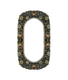 Empty Old Oval Metal Frame decorated with Colorful Jewelry for input Photo or Text Isolated on White Background, Vintage Style Int Stock Photos