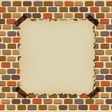 Empty old paper on brick wall frame. Illustration of empty old paper on brick wall frame Royalty Free Stock Photography