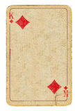 Empty old playing card king of diamonds paper background Royalty Free Stock Photos