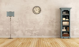 Empty old room with little bookcase Royalty Free Stock Photography