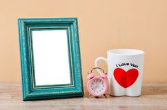 Empty of old style antique wooden craft photo frame. Royalty Free Stock Photo