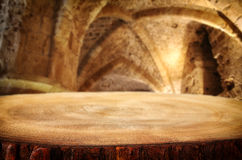 Free Empty Old Table In Front Of Ancient Knight Stone Tower. Useful For Product Display Montage. Royalty Free Stock Image - 96548756