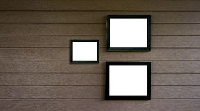 empty old wood frame vintage on wooden wall  Photo or picture ar Royalty Free Stock Photography