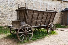 Empty and old wooden cart Royalty Free Stock Images