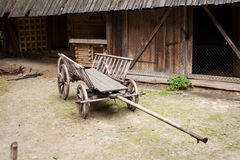 Empty and old wooden cart Stock Photos
