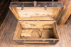 Empty old wooden chest Royalty Free Stock Photos